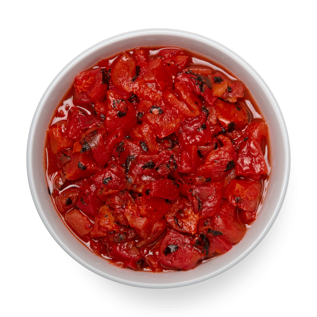 fire roasted diced tomatoes overhead in bowl