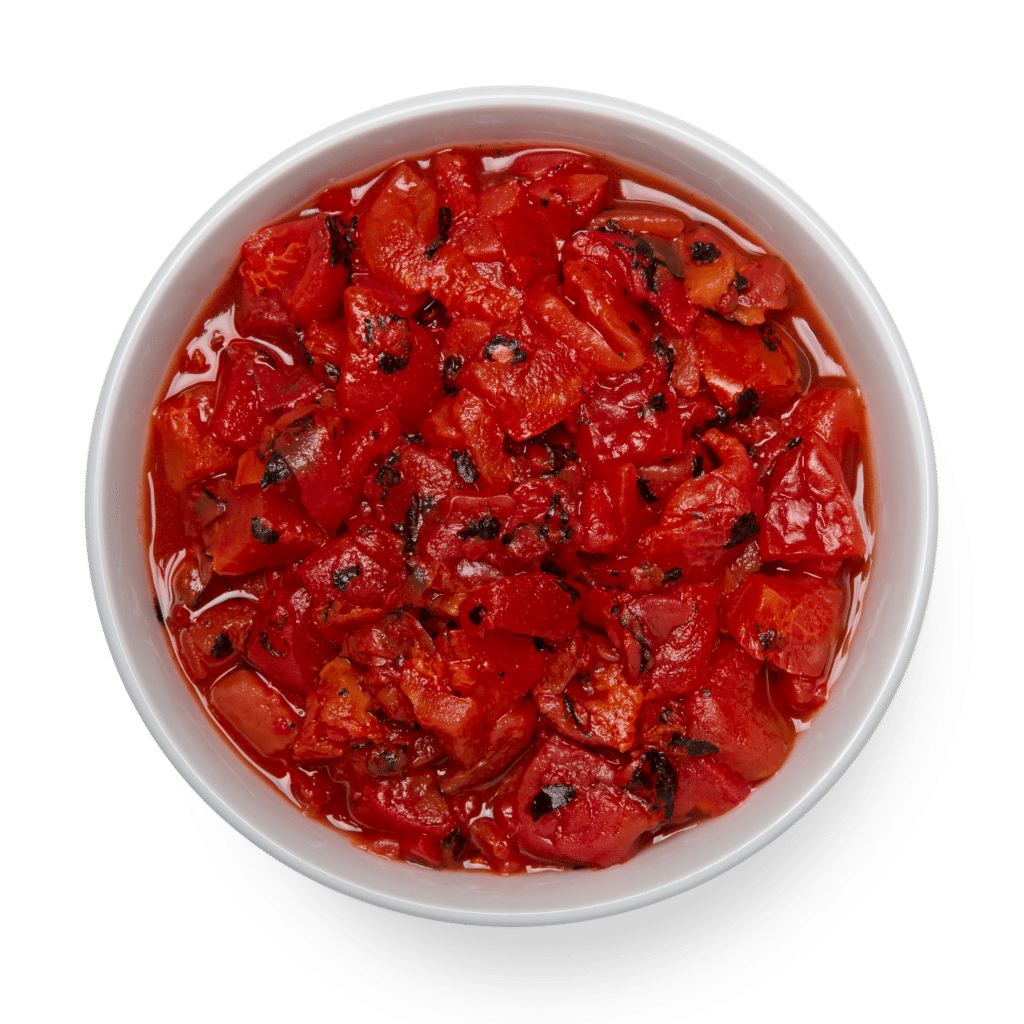 fire roasted diced canned tomatoes in white bowl