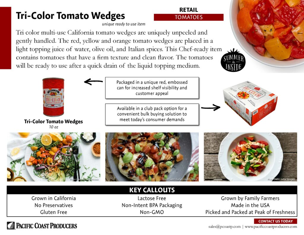 Tri-Color Tomato Wedges for Retail sale sheet