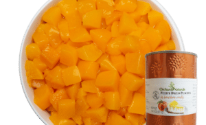 Petite Diced Peaches in Bourbon Coulis with product shot