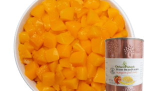 Petite Diced Peaches in Passion Fruit Coulis with product shot
