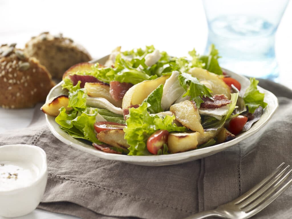 Pear and Chicken BLT Salad recipe from Pacific Northwest Canned Pears