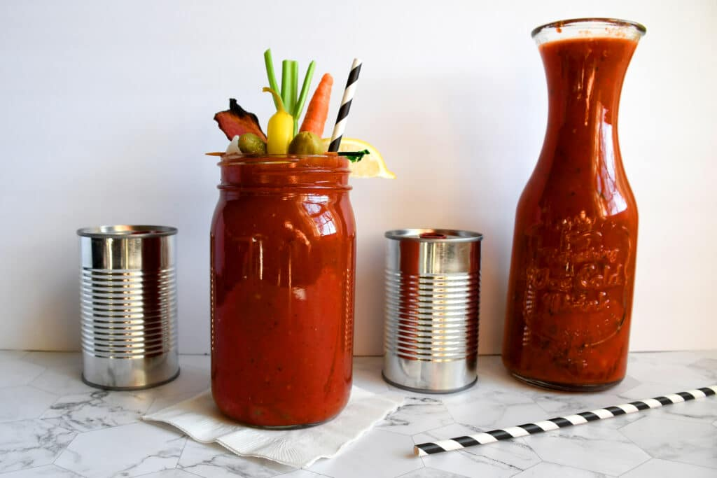 Zesty Homemade Bloody Mary Mix using canned tomatoes