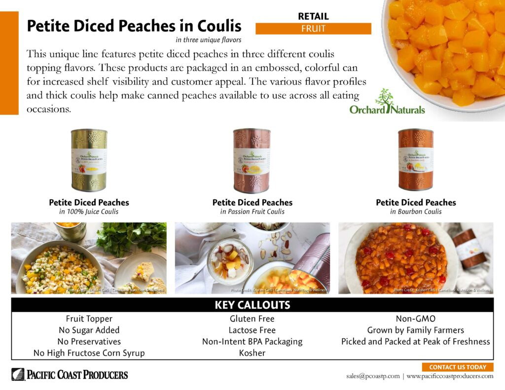 Petite Diced Peaches in Coulis Retail Sale Sheet