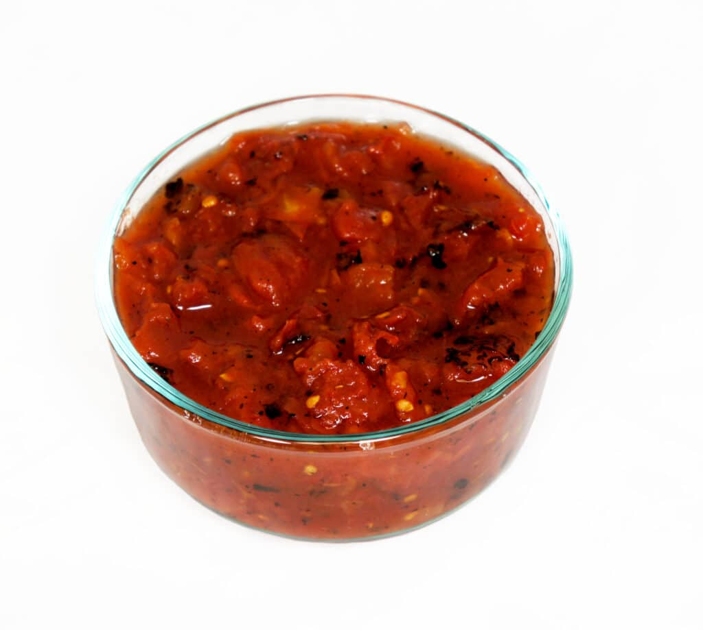 fire roasted salsa in clear bowl